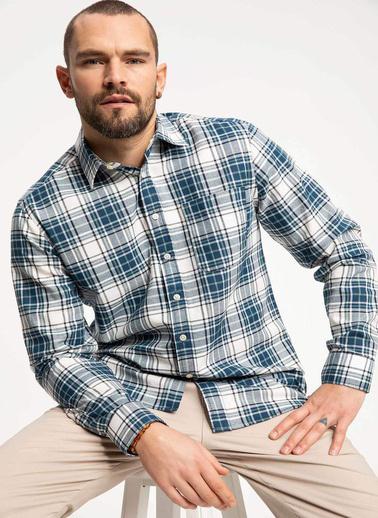 DeFacto Uzun Kollu Gömlek Mavi